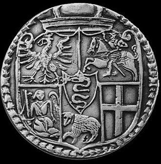 Lithuanian auksinas - Auksinas (puskapė or taleris) minted in 1564