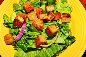 Crouton - Croutons atop a salad.
