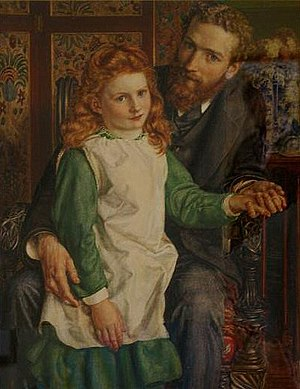 Sir Hugh Bell, 2nd Baronet - Portrait of Sir Hugh Bell, with Gertrude Bell aged 8, by Edward Poynter, in 1876, the year of his remarriage