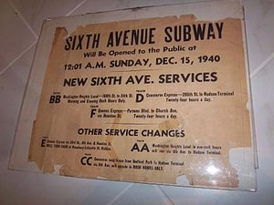 B (New York City Subway service) - Sixth Avenue Subway Will Be Opened to the Public at 12-01 A.M. Sunday, Dec 15, 1940