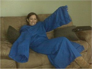 Courtney in Snuggie