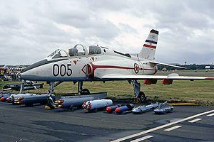 Soko G-4 Super Galeb - RV i PVO G-4 (serial 23005) at the Farnborough Airshow, UK in 1984.