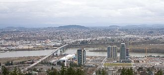South Waterfront - The South Waterfront district from Marquam Hill in 2007, when the first few high-rises had been completed