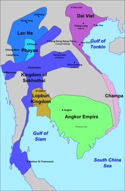 Approximate extent of Sukhothai's zone of influence, late 13th century.