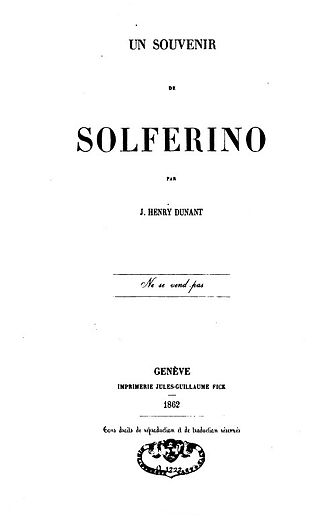 A Memory of Solferino - Cover of the original edition of A Memory of Solferino (1862).