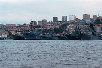 Pacific Fleet (Russia) - Ships of the Soviet Pacific Fleet at Vladivostok in 1990