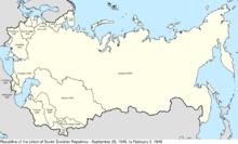 Mapo de Eŭrazio elstariganta Sovetunion