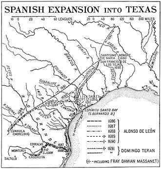 Spanish Texas - Trails taken by Spanish explorers from Mexico into Texas.