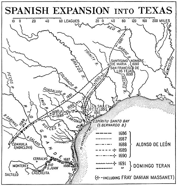 Trails taken by Spanish explorers from Mexico into Texas. Spanish explorations in Texas.jpg