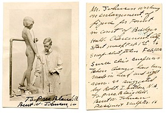 The Spirit of Spanish Music - Burt W. Johnson, working in his studio in February, 1916 on the model for The Spirit of Spanish Music, in a snapshot inscribed for Pomona College Pres. Blaisdell and signed by the sculptor.