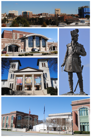 Top, left to right: Spartanburg skyline, Spartanburg Memorial Auditorium, Wofford College, Chapman Cultural Center, Daniel Morgan Monument, Chapman Cultural Center
