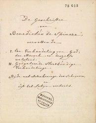 Benedictus de Spinoza: Korte verhandeling van God de mensch en deszelvs welstand - KB 75 G 15