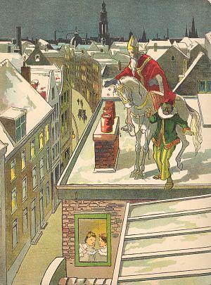 St. Nikolaas op de schoorsteen