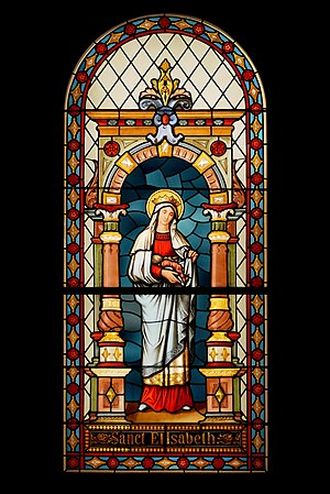 Slika:St Elisabeth of Hungary (18. century, stained glass).jpg