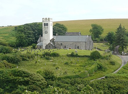 St James's church in Manorbier, Pembrokeshire, is a parish church dating from the 12th century and is a Grade I listed building St James's Church, Manorbier - geograph.org.uk - 928738.jpg