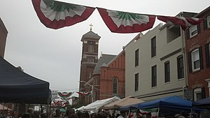 Little Italy, Baltimore - St. Leo's Church during the Feast of St. Gabriel, September 2013.