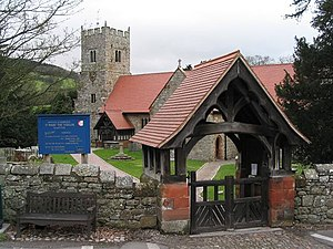 Selattyn - Image: St Mary the Virgin's Church and lychgate at Selattyn, Shropshire