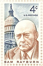 Stamp issued by the United States Postal Service commemorating Sam Rayburn.