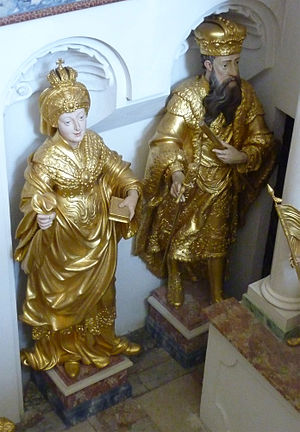 Meinhard, Duke of Carinthia - Statues of Meinhard and Elisabeth in the Stams Abbey Church