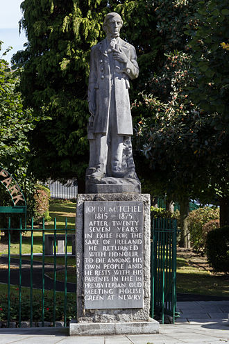 "John Mitchel - Statue of John Mitchel in Newry ""John Mitchel 1815–1875 After twenty seven years in the exile for the sake of Ireland he returned with honour to die among his own people and he rests with his parents in the 1st Presbyterian Old Meeting House green at Newry."""