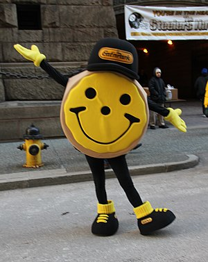 Eat'n Park - A black and gold Smiley Cookie appears at a rally for the Pittsburgh Steelers in 2011.