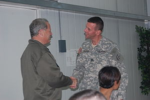 42nd Combat Aviation Brigade - Congressman Steve Israel greets Brian S. Caskey (3-142 Aviation) during Israel's 2008 visit to Iraq.