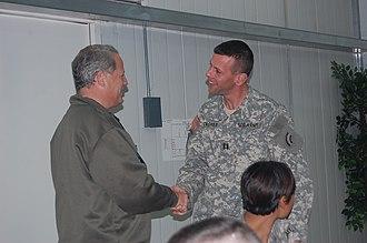 42nd Combat Aviation Brigade - Congressman Steve Israel greets Brian S. Caskey (3-142 Aviation) during Israel's 2008 visit to Iraq.