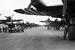 No. 299 Squadron RAF - Short Stirlings of Nos. 196 and 299 Squadrons RAF lining the runway at RAF Keevil on the evening of 5 June 1944 before emplaning paratroops of the 5th Parachute Brigade Group for the invasion of Normandy