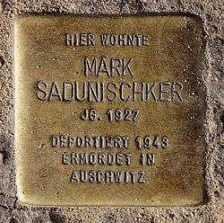 Photo of Mark Alfred Sadunischker brass plaque