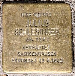Photo of Julius Schlesinger brass plaque