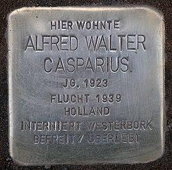 Photo of Alfred Walter Casparius brass plaque