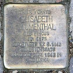 Photo of Elisabeth Blumenthal brass plaque