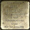 Stumbling block for Alma Friedlich (Weyerstraße 122)