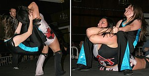 Backbreaker - Jetta using her stranglehold double knee backbreaker (left) and transitioning into a mounted stranglehold (right).
