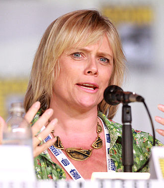 Sue Vertue - Vertue during Sherlock panel at the 2013 Comic-Con International
