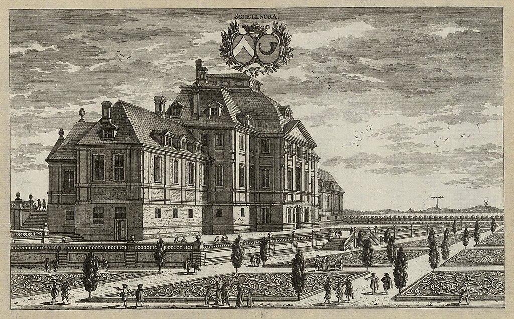 Den dåvarande huvudbyggnaden vid Sköldnora såsom den avbildas i Suecia antiqua et hodierna cirka 1690-1710.