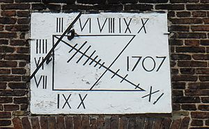 Sedgefield - Sundial, dated 1707, on the Sedgefield Manor House.