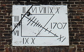 Sedgefield - Sundial, dated 1707, on the Sedgefield Manor House.
