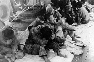 Battle of Midway - Japanese survivors of Hiryū picked up by USS Ballard
