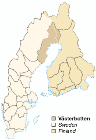 Västerbotten - Västerbotten's old borders which extended into present-day Finland