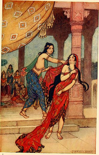 Draupadi - The Ordeal of Draupadi, a painting by Warwick Goble, 1913