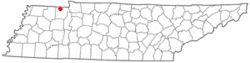 Location of Puryear, Tennessee