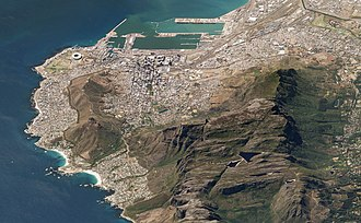 Satellite image of Table Mountain, surrounded by Cape Town Table Mountain Cape Town South Africa 19Mar2018 SkySat.jpg