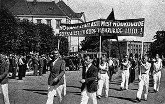 Estonian Soviet Socialist Republic - Soviet-organized rally in Tallinn, 1940