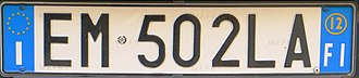 "Vehicle registration plates of Italy - Current Italian registration plate: on white background the nationwide and sequential scheme ""AA 000 AA""; on the right blue band the year of registration (12 = 2012) and provincial code (FI = Firenze)"