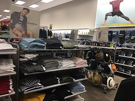 Goodfellow & Co. clothes at a Target store. TargetINCLTHS.jpg