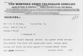 Telegram style - This telegram was sent by Orville Wright in December 1903 from Kitty Hawk, North Carolina, following the first successful aeroplane flight.