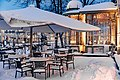 Terrace in snow at Esplanadikappeli restaurant in Helsinki, Finland, 2021 January.jpg