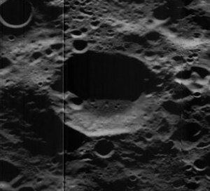Tesla (crater) - Oblique Lunar Orbiter 5 image, facing west