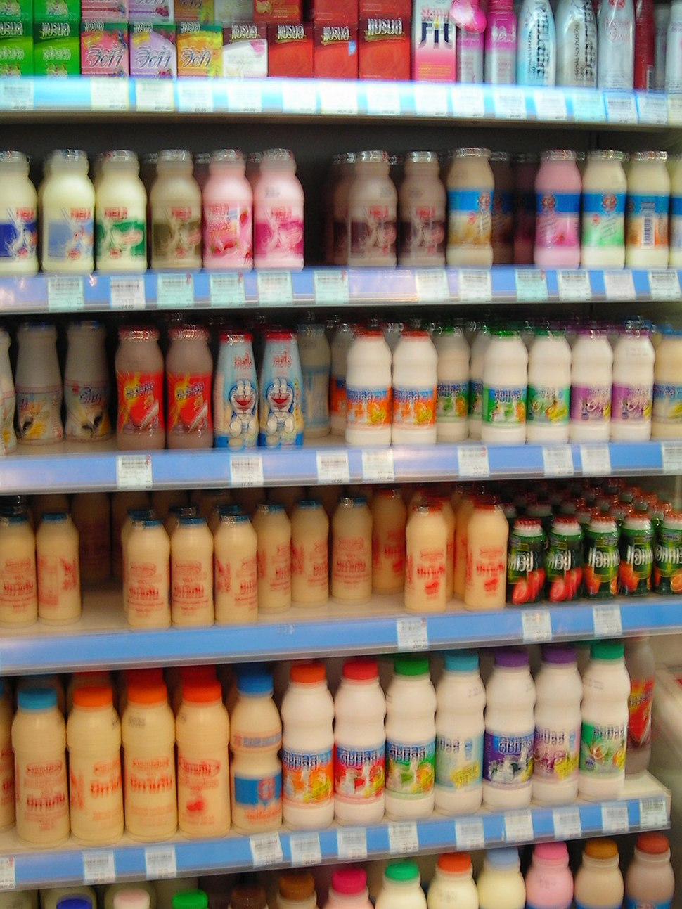 Thai Dairy products in plastic bottles at a shop